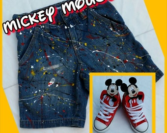 Mickey Or Minnie Mouse Inspired Splatter Paint Distressed Ripped Jeans- Shorts- Skirts- Girls- Boys- Kids Fashion- Newborn- Infant- Toddler