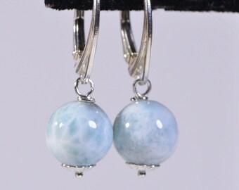 Minimalist Earrings Gemstone Larimar Earrings Wire Wrapped Sterling Silver Drops