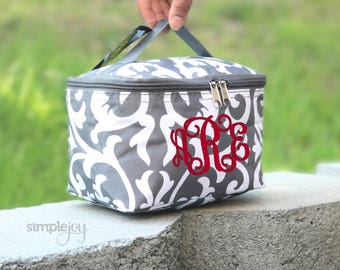 Monogrammed Makeup Bag, Bridesmaid Gift, Personalized Cosmetic Bag, Gray Makeup Bag, Toiletry Bag, Gift For Her, Makeup Lover, Damask Makeup