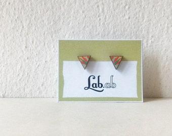 Pow! Walk Like an Egyptian - MINI leaves - Paper on Wood earrings - stud earrings - triangle