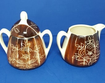 Vintage Brown Intaglio Purinton Slip Ware Sugar & Creamer Set