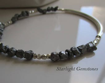 Minimalist Raw Pyrite Grounding Gemstones with Sterling Silver Tube & Hill Tribe Silver Spacers Stretch Bracelet