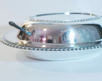 "12"" Oval Silver Plate Covered Casserole Dish"