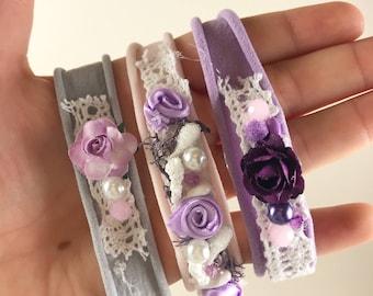 Pink, Grey & purple Newborn Headbands x 3 baby girls