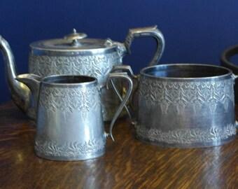 antique silver plate tea set service