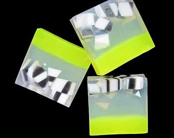 Lemon Zest in White, Black, and White Glycerin & Shea Butter Soap