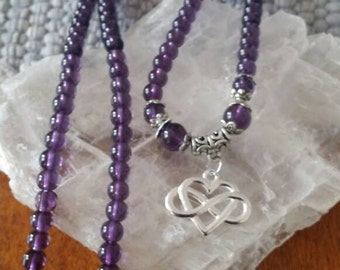 Amethyst Glass Bead Celtic Knot Heart Necklace