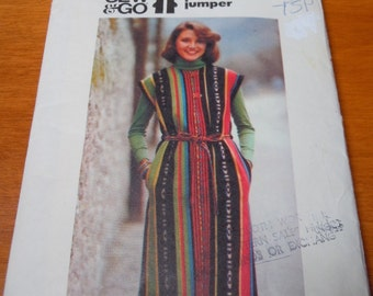 """Vintage 70's Butterick #5033 Sewing Pattern Women's Pocketed Jumper Semi Fitted Small Bust 31"""" Waist 25"""" Cut and Complete"""