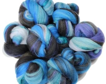 Dark Tower -- mini batts (2 oz.) organic polwarth wool, bamboo, silk, sparkle.