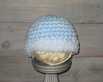0 to 3 month Baby Blue crochet hat