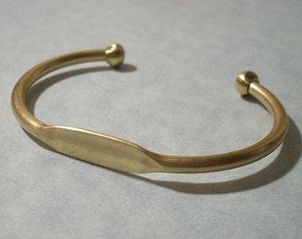 Adjustable Brass Cuff Bracelet Blank, Glue Pad Bracelet, Engravable ID Bracelet, Stamping Blank