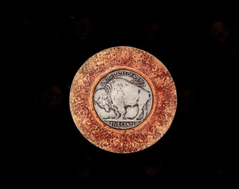 Buffalo Nickel and Textured Brass Screw Back Concho