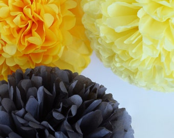 Yellow & grey  - 15 mixed sizes Tissue paper Pom Poms set  - paper pompoms -very fluffy -wedding party  decorations