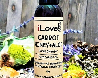 CARROT+HONEY+ALOE Facial Cleanser-Organic-Soap Free Daily Cleanser-All Skin Types-Pure Carrot Seed Oil-Anti Aging-4oz-iLovebyCindy.com