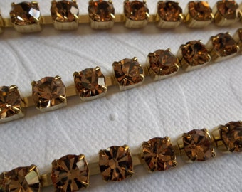 6mm Light Brown Rhinestone Chain - Brass Setting - Light Colorado Topaz Czech Crystals- Large Crystal Size 29SS