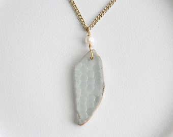Gold Rimmed Sea Glass Necklace, Patterned Seaglass Jewelry, Freshwater Pearl, Chesapeake Beach Glass Pendant