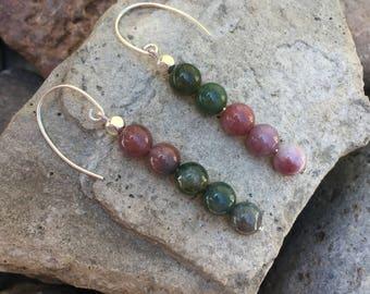 Jasper Gemstone sterling silver drop earrings healing gemstone jewelry
