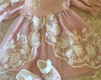 Baby Dress Set | Pink Baby Dress | Baby Lace Dress | Infant Dress | Baby Dress Gift | Infant Dress | Pink Infant Dress | Dress with Lace