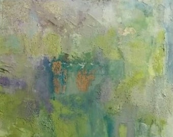 Abstract Mixed Media Landscape Canvas Painting Acrylics Texture Copperleaf Silverleaf Impressionist Green Lilac Blue Free Shipping Wall Art