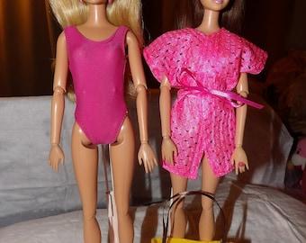 Maillot de bain rose, rose camouflage et jaune sac fourre-tout pour POUPEES mannequins - ed595