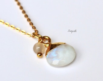 925 Sterling Gold Plated Necklace - Moonstone