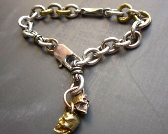 RESERVED Men's Bracelet Heavy Cable Link Chain with Brass Skulls