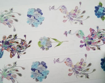 Design Washi tape peacock feathers watercolor flowers masking tape