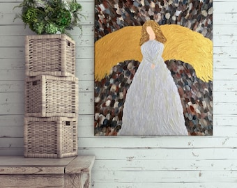 Angel - Textured Angel Painting - Angel Art - Shimmering Angel - Religious Painting - Religious Art - Religious Gift