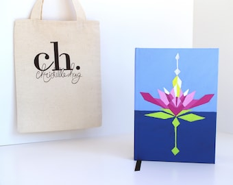 Premium Journal: Painted Original Artwork on Hand-bound A5 Journal & Tote Bag