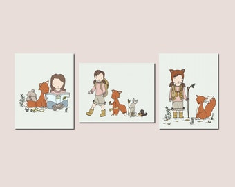 Woodland Girl Art Prints -- Woodland Nursery Decor -- Girl and Fox Art -- Set Of 3 Prints -- Kids Wall Art -- BRUNETTE