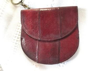 Vintage Burgundy EEL Skin Wallet With Key Chain