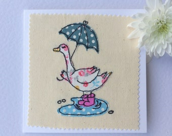 Lady McDuck free motion machine embroidery Greeting Card