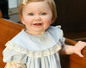 Baby Dedication Heirloom Dress Picture Panel with Monogrammed Collar Ecru Lace and Pin Tucks
