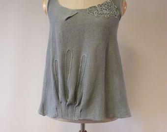 Summer knitted jadeite linen top, L size.