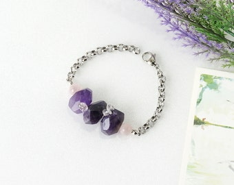 Ultra Violet Purple Amethyst Crystal Bracelet, Rose Quartz and Ametrine Combination Stone Jewelry, February Birthstone