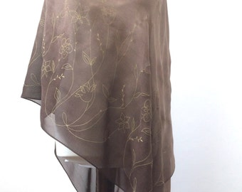 Beach Cover Up, Sarong, Pareo, Transparent, Stole, Swimwear Coverup, Chiffon Wrap Shawl, Boho Scarf, Floral Scarf, Sheer Scarf, Mother Gift