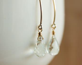 Gold Green Amethyst Earrings - Simple Gemstone Hooks - 14K GF