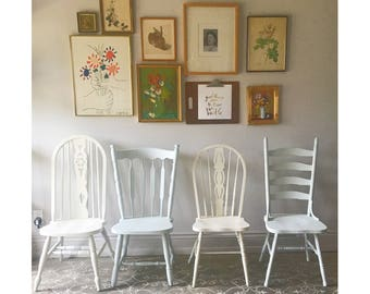 Farmhouse Chairs Set Of Four Vintage Farm Chairs You Choose The Style And  Finish Rustic Provincial