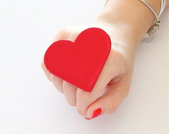 Ceramic Ring, Big Red Heart Ring, Mothers Day  - Summer Fashion, big ring, gift for her, cocktail ring, statement ring, Studioleanne
