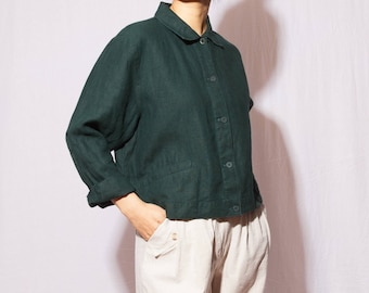 vintage linen blouse jacket, dark green, eileen fisher, fits s-m
