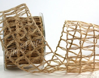 """Wired Burlap Ribbon, 2.5"""" wide by the yard"""