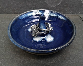 RING DISH: Wheel Thrown Pottery Ring Dish Jewelry Holder Bowl |  Dark Cobalt Blue