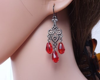Red  and grey chandelier earrings, Gothic earrings, gunmetal Gothic earrings, Gothic jewellery, Halloween earrings, Halloween jewellery