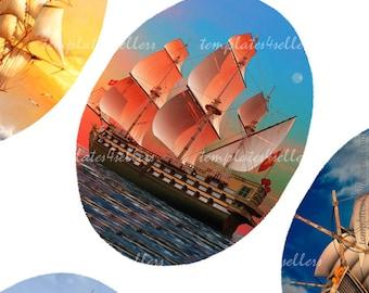 Digital Collage Sheet Sailer 30x40mm oval  Original  Printable images for Card Making, Scrapbooking 4x6 inch sheet 418