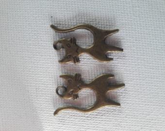 Set of 2 cats in metal bronze