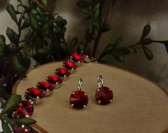 12mm Red Swarovski Crystal Leverback Earrings in Rhodium Plated Setting