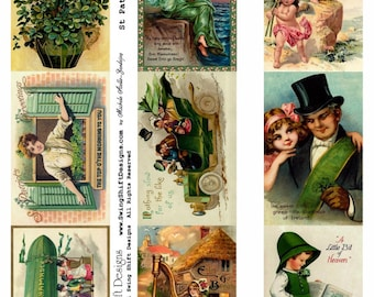 St Patrick's Day Collage Sheet V1, Green, Clover - Digital Download JPG file by Swing Shift Designs