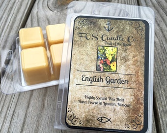 Wax Melts ~ ENGLISH GARDEN Wax Melt ~ Spring ~ Wickless Candle ~ Highly Scented Tarts ~ Handmade & Poured  ~ Essential Oils