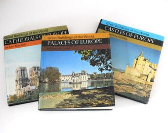 European Architecture Books, Great Buildings of the World Series, Palaces Castles Cathedrals of Europe, 1960s Travel Books, Photo Books
