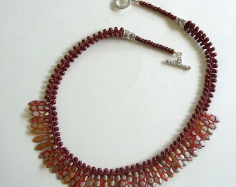 Rust & Silver Flat Kumihimo Rope with Bead Embellishment and Czech Dagger Beads by Carol Wilson of Je t'adorn